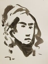 "JOSE TRUJILLO - Contemporary EXPRESSIONISM INK WASH SIGNED 11X15"" Portrait Woman"