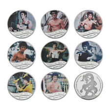 WR Chinese Kung Fu Bruce Lee Nunchakus Dragon Silver Collectors Coin Medal Set 8
