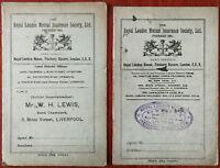 Royal London Mutual Insurance Society Ltd. Premium Receipt Books x 2 1920's