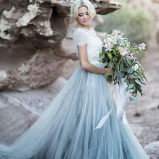Sky Blue Lace Bride Dress Short Sleeves A-line Romantic Wedding Dresses Custom