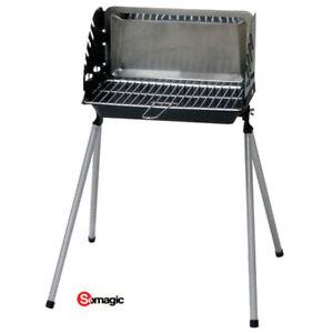 Barbecue à charbon sur pieds fixes Cuve en fonte 40x23 cm