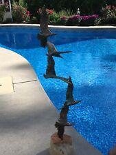 Vintage Brutalist C Jere Birds In Flight 5 Bronze Seagulls Sculpture Quartz Base