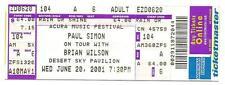 2001 Paul Simon Brian Wilson Full Ticket 6/20/01