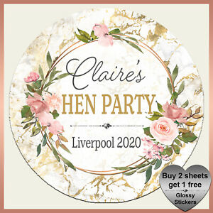 Personalised WHITE MARBLE Hen Night Stickers - Birthday Party Floral Frame Label
