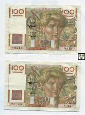 France 2*100 Francs Notes  4/9/1952  VF/VF+   K128D