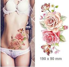 Big Removable Stickers Body Art Temperate Tattoos Waterproof-Pink Roses D
