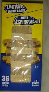 "New!! Tumble Tower Game - Miniature 4 1/2"" High - 36 Blocks - Wood Stacking game"