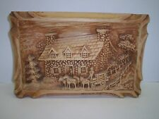 """WOOD PICTURE DETAILED OF A HOUSE AND HORSES W/WAGON 15"""" X 9 5/8"""" X 1 7/8"""""""