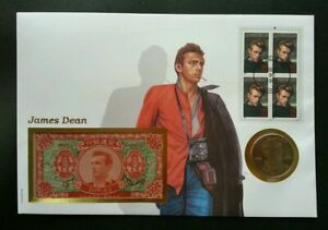 [SJ] USA James Dean 1996 美国中国地府瞑钞邮币封 Hell FDC (banknote coin cover) *rare 3 in 1