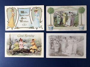 4 Pretty Ladies Greetings Antique Postcards, 1900s. Groups of Ladies. NICE.