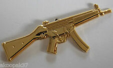 MP-5A2 HK 9MM GOLD PLATED LAPEL BADGE 50MM LONG WITH 2 PINS