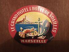 Ancienne Étiquette De Bagage - Hôtel Noailles (Marseille)(vintage Luggage Label)