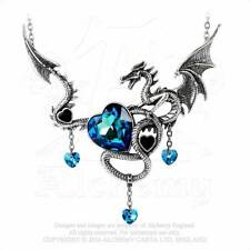 Alchemy Gothic Pewter Draig O Gariad Celtic Dragon Blue Heart Pendant Necklace