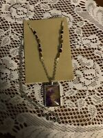 Hand Painted Purple Rectangle Pendant On Beaded Chain Silver Tone