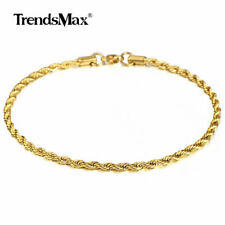 """Anklet Mens Womens Rope Link Bracelet 3mm 10"""" Gold Plated Stainless Steel Chain"""