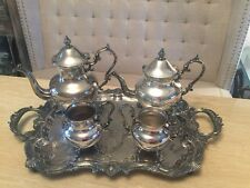 Rare VTG stamped Birmingham Silver Co Silver On Copper 5 PIECE Tea Coffee Set