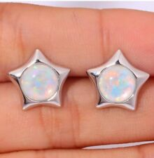 Stunning Style Fashion White Fire Lab Opal Silver Star Stud Earrings