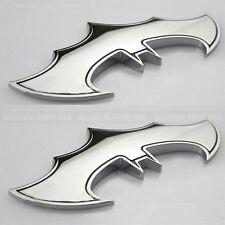 2pcs Silver Batman Bat Dark Knight Logo 3D Metal Emblem Badge Decals Car Sticker