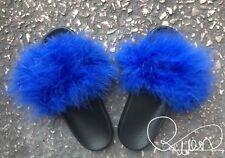 Womens Rihanna Handmade Sliders Big Fur Fluffy Royal Blue Size 3,4,5,6,7UK SALE
