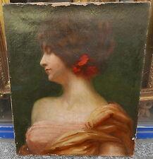 Tableau Ancien Huile Portrait Jeune Femme CHARLES BERTOU 1901 Art Nouveau