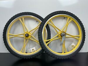 Vintage Original LESTER BMX Mags Aluminum RIMS Wheels Yellow Mongoose Schwinn