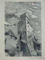Lito Firmada a Lápiz Jehan Brocado Alpes-Maritimes Castillo Roquebrune