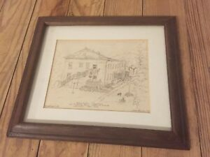 Original Pen Ink Drawing Domikaitis Quarters Watervliet Arsenal NY Leize Pearce