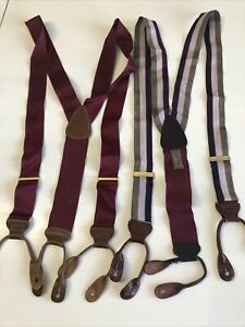 TRAFALGAR Lot of 2 Suspenders Braces -Leather Lizard