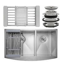 "33"" x 20"" x 9"" Apron Farmhouse Handmade Stainless Steel Double Bowl Kitchen Sink"
