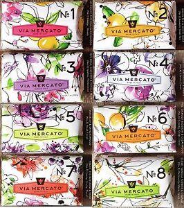 Via Mercato Soap Bars 200 gram No.1 - No.9 Italy Choose Your Scents, Free Ship