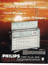 PUBLICITE ADVERTISING 044  1965  PHILIPS    TRANSWORLD  Transistor