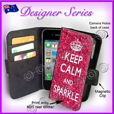 For Apple iPhone 4 4G 4S Wallet Flip Card Pink Keep Calm And Sparkle 39