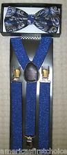 Blue Silver Paisley Pattern Adjustable Bow Tie & Blue Glitter Y-Back Suspenders