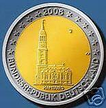 2 EURO Duitsland 2008 Allemagne Hamburg Michaeliskirche
