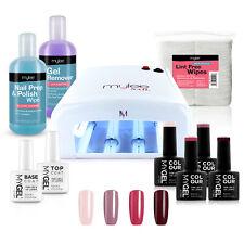 Mylee Mygel Kit UV Lamp 4 Colours Gel Nail Polish Top Base Prep & Wipe Remover