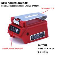 New USB Power Source Adapter DC12V MAX 5A For BLACK & DECKER 20V Li-Ion Battery
