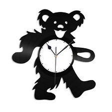 Bear Dance Vinyl Wall Clock Animals Lovers Unique Gift Home Kids Room Decoration