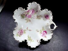 Monbijou R. C.  Rosenthal, Bavaria Porcelain Ruffled Edge Leaf Dish Pink Roses
