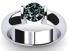 Moissanite Diamond Solitaire 925 Silver Ring 2.06 Ct Vvs1>Round Brown Blue White