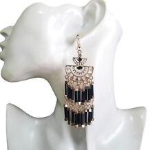 Vintage Womens Bohemians Hippy Black Beads Dangle Drop Gold-Tone Hook Earrings