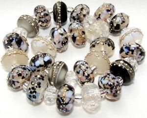 """Sistersbeads """"G-Black Granite"""" Handmade Lampwork Beads"""