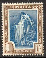 Malta 1922 indigo/sepia 1/- multi-script mint SG134