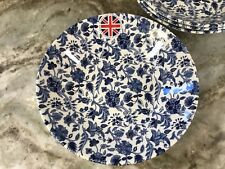 Antique Floral Pasta Bowls By Queen's. Set Of 4 Cobalt Blue, White 7.75 Inch New