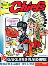 1963 GAME PROGRAM PHOTO KANSAS CITY CHIEFS VS OAKLAND RAIDERS PHOTO 8x10