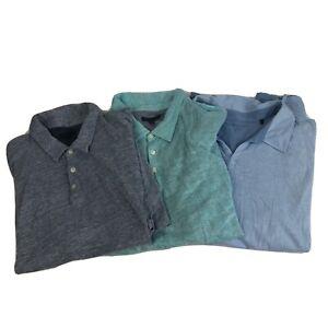 Lot of 3 Mens 2XL Zachary Prell Short Sleeve Polo Shirt Colorblock Linen Blue