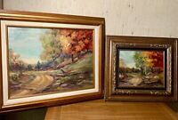 Set Of 2 Oil paintings, Impressionistic landcape with vibrant color