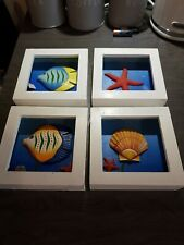Wooden Box Coastal Pictures x 4