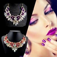 Fashion Rhinestone Crystal Chunky Statement Bib Pendant Chain Flower Necklace #M