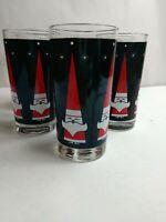 """Vintage 1960's Libbey Holt Howard 5.5"""" Atomic Santa Drinking Glasses Set of 6"""