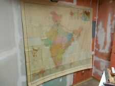 """Vintage India & Adjacent Countries Pull Down Wall Map CLOTH 1 Layer Old 69""""x 65"""""""